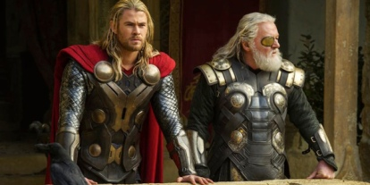 Hemsworth as Thor and Hopkins as Odin